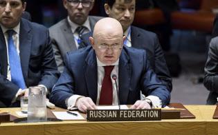 米英仏のシリア攻撃を非難するロシアのネベンジャ国連大使(ニューヨークの国連本部)=国連提供