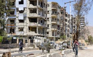化学兵器が使われたとされるシリアの首都ダマスカス近郊ドゥーマ=16日(共同)