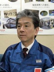 インタビューに答える東電福島第一廃炉推進カンパニー最高責任者の小野明氏
