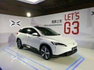 アリババ集団が出資する小鵬汽車は23日、初の量販車「G3」を披露した。(4月、北京市)