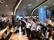 中国運輸局による競合他社へ認可は違法と主張している(23日、岡山市)