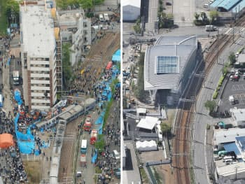 脱線事故当日の現場(2005年4月、写真左)と上層階が解体されアーチ状の屋根で覆われたマンション(19日、兵庫県尼崎市)
