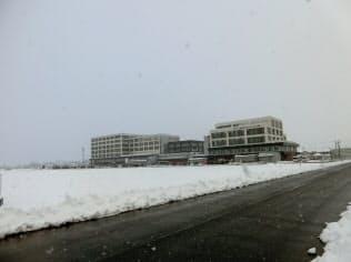 富山市郊外の婦中町では人口増に伴い病院もできた(1月)