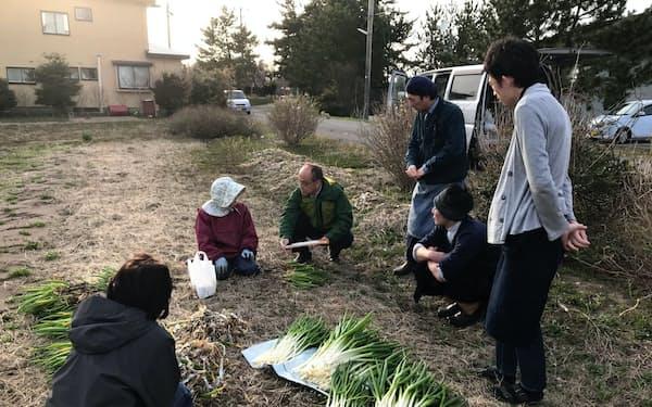 農家を訪れ栽培する作物や量などを聞き取った(17日、秋田県男鹿市)
