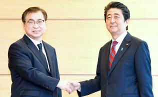 韓国の徐薫(ソ・フン)国家情報院長(左)と握手する安倍首相(29日午前、首相官邸)