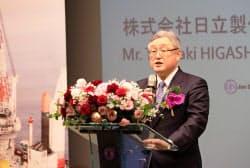 台湾・台北で記者会見する日立の東原社長(4月30日午後)