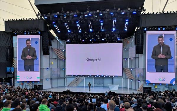 5月8日、AIの有用性を訴えるグーグルのピチャイCEO(カリフォルニア州マウンテンビュー市)