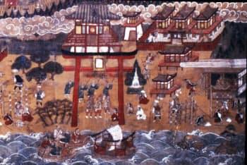「那智山宮曼荼羅」に描かれた補陀洛渡海(熊野那智大社蔵)