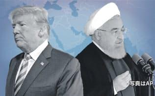 イランのロウハニ大統領は17日、核合意維持に向け欧州などに与えられた時間は「限られている」と警告した(写真はトランプ米大統領がAP、ロウハニ大統領はイラン大統領府提供・AP)