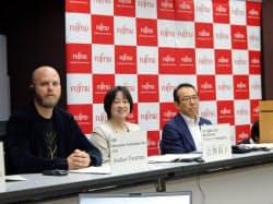 富士通のサービス「デジタルアニーラ」は量子コンピューター並みの解析速度を持つという(15日、東京・千代田)