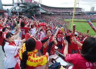試合に盛り上がる広島ファンの女性たち(広島市南区)