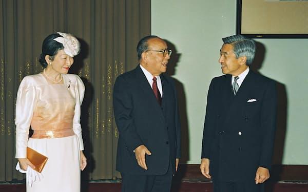 中国の楊尚昆国家主席と天皇、皇后両陛下(1992年10月23日、北京)