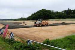 大川原地区で新たな役場の建設が進む(18日、福島県大熊町)