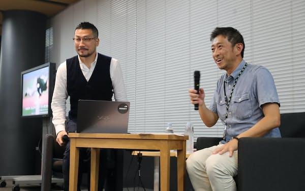 セミナーで対談する神事さん(左)と丹羽さん