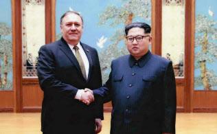 ポンペオ国務長官(左)は金委員長と2回面会した
