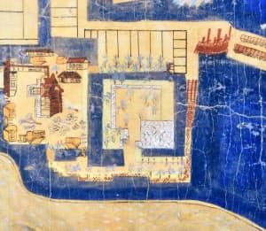 大溝城下古図には本丸の石垣が描かれている(複写、滋賀県高島市の高島歴史民俗資料館)
