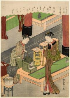 あべのハルカス美術館で展示される鈴木春信「浮世美人寄花 笠森の婦人 卯花」(1769年、ボストン美術館蔵、Photograph (C) MFA, Boston)