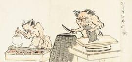 大阪市立美術館で展示される耳鳥斎「地獄図巻」の「かはうをやの地獄」(1793年、部分、大阪歴史博物館蔵)