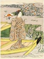 鈴木春信「見立玉虫 屋島の合戦」明和3-4年(1766-67)頃 中判錦絵2枚続のうち左、ボストン美術館蔵 Photograph (C) MFA, Boston