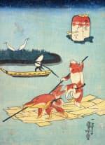 歌川国芳「金魚づくし いかだのり」1842年ごろ、個人蔵