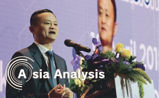 タイ東部の経済特区への投資を表明するアリババ集団の馬雲(ジャック・マー)会長(4月19日、バンコク)=撮影 柏原敬樹