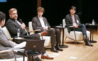 討論する(左から)ハリントン、ディアンジェロ、太田の各氏(5日午前、東京・大手町)