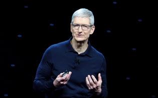 米アップルが開催した世界開発者会議(WWDC)の基調講演に登壇したティム・クック最高経営責任者(CEO)