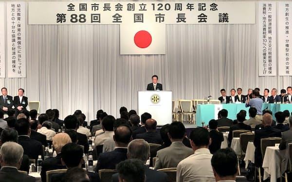 全国市長会長に就任した立谷秀清・福島県相馬市長(6日、都内)