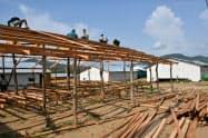 帰還したロヒンギャ難民が再定住までの半年間、収容される予定の一時滞在施設(5月、ラカイン州北部)