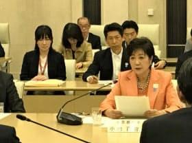 都の関係局長会議で発言する小池百合子知事(7日、東京都庁)