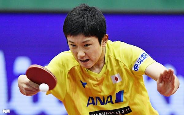 準々決勝でリオ五輪王者を破った張本(9日、北九州市立総合体育館)=共同