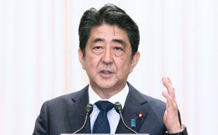 晩さん会で演説する安倍首相(11日午後、東京都千代田区)