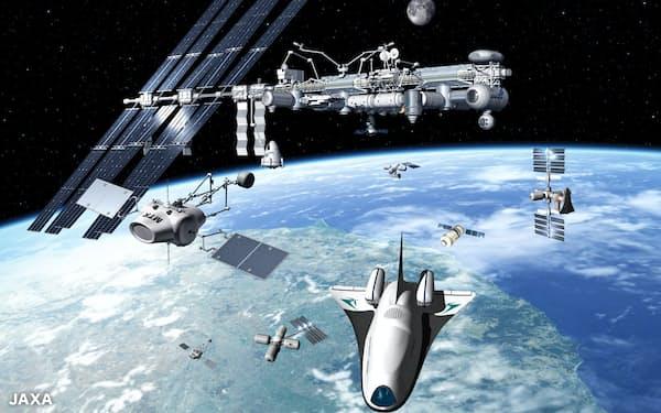 宇宙船を飛ばして宇宙産業の振興を目指す=JAXA提供のイメージ