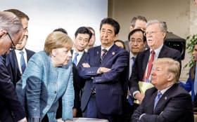 貿易対立は米中間にとどまらず、EUとカナダも米国製品に報復関税を課すと表明している(9日のG7サミット)=ロイター