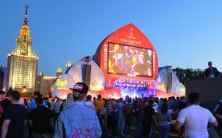 モスクワ大に隣接するPV会場ではほぼ全試合を中継し、連日深夜まで観戦客でにぎわう