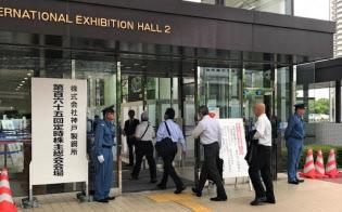 神戸製鋼の株主総会の出席者数は前年を上回った(21日、神戸市内)