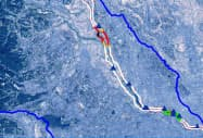 洪水の危険性の高い場所を色分けして伝える(図はイメージ)=国総研提供