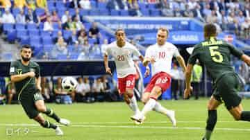 デンマーク、豪州とドロー サッカーW杯