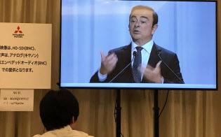 「1社が他社を完全に支配しようとして失敗した例はたくさんある」と話すカルロス・ゴーン氏(22日、三菱自動車の株主総会)
