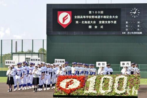 第100回を迎える全国高校野球選手権の南北海道大会室蘭地区大会の開会式(6月23日)=共同