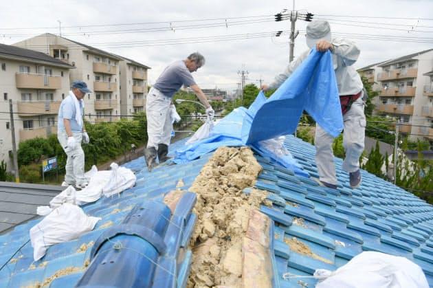 地震で屋根が崩れ、雨漏りを防ぐためブルーシートをかける男性(19日午前、大阪府茨木市)