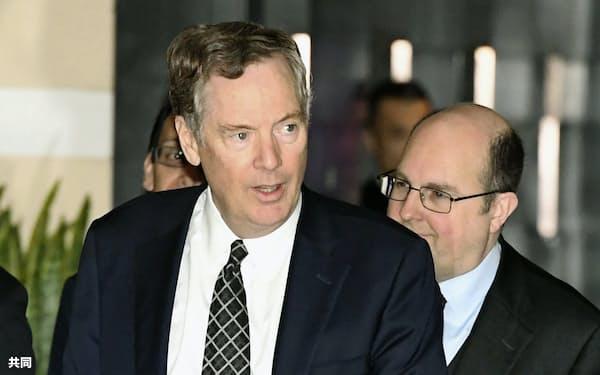 ライトハイザーUSTR代表(左)はWTO改革に積極的とされる=共同