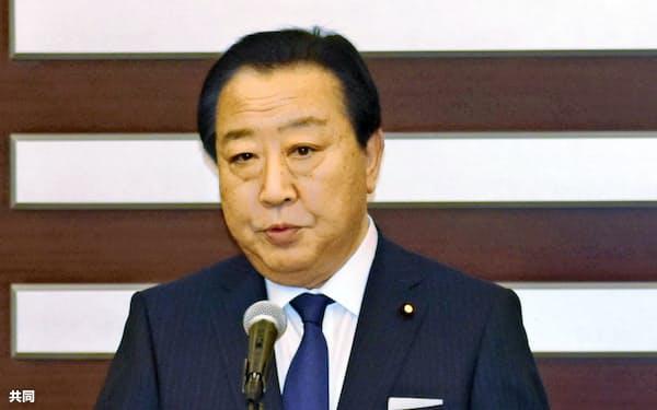 新たな政治団体設立の決意を述べる野田佳彦前首相=10日、千葉市=共同
