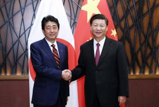 2017年11月、ベトナム・ダナンでの日中首脳会談で安倍晋三首相(左)と握手を交わす習近平国家主席=新華社・AP