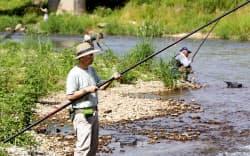 放射性物質の検査を目的にアユを釣る地元漁協の関係者(29日午前、福島県浪江町)=共同