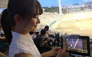 KDDIは5Gの実証実験を実施した。スタジアムでリアルタイムにプレー動画を視聴できるサービスだ