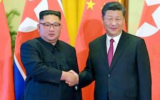 習近平国家主席(右)と北朝鮮の金正恩委員長=コリアメディア提供・共同
