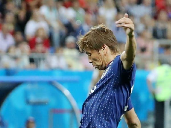 ベルギー戦で、2点目のゴールを決める乾=沢井慎也撮影