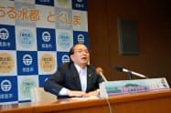 阿波おどりで、有名連と初めて出演契約を結ぶ方針を明らかにした徳島市の遠藤彰良市長(4日、徳島市)