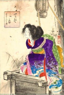 伊藤晴雨画「皿屋敷のお菊」(姫路文学館蔵)